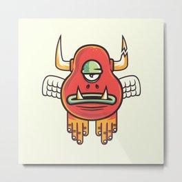 Angry Eggplant Boy Metal Print