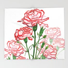 pink and red carnation watercolor painting Throw Blanket