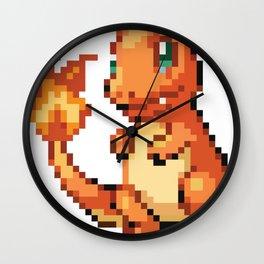 Pixel Art - Orange Dragon Wall Clock