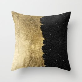 Faux Gold & Black Starry Night Brushstrokes Throw Pillow