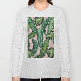 Jungle Leaves, Banana, Monstera II Pink #society6 Long Sleeve T-shirt