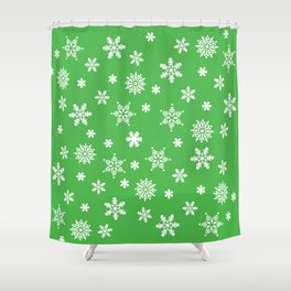 Snow Flurries-Christmassy Green Shower Curtain