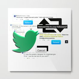 POWER ON TWITTER Metal Print