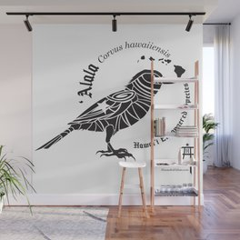 ʻAlala - Hawaiian Crow - Hawaiian Endangered Species Wall Mural