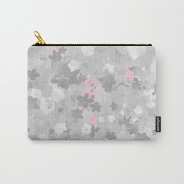 Romantic Black and White Floral Pattern with Flowery Girly Flowers over Preppy Pink Carry-All Pouch