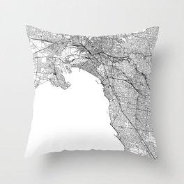 Melbourne White Map Throw Pillow