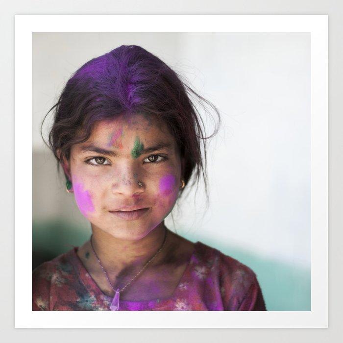 Holi Girl Art Print