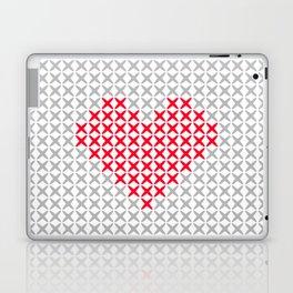 Pink Heart Embroidery Print Laptop & iPad Skin