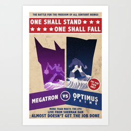 Optimus Prime vs Megatron Fight Poster Art Print