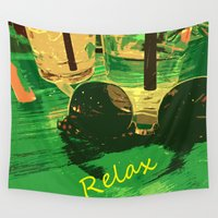 relax Wall Tapestries featuring Relax by Geni