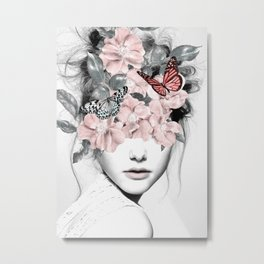WOMAN WITH FLOWERS 10 Metal Print