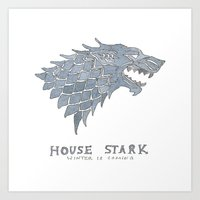 sansa Art Prints featuring House Stark- Game of Thrones by 366Sketchbook