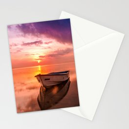 Boat in sea Stationery Cards