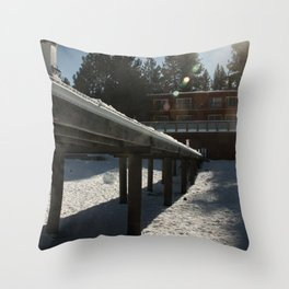 Boathouse in the Winter Throw Pillow