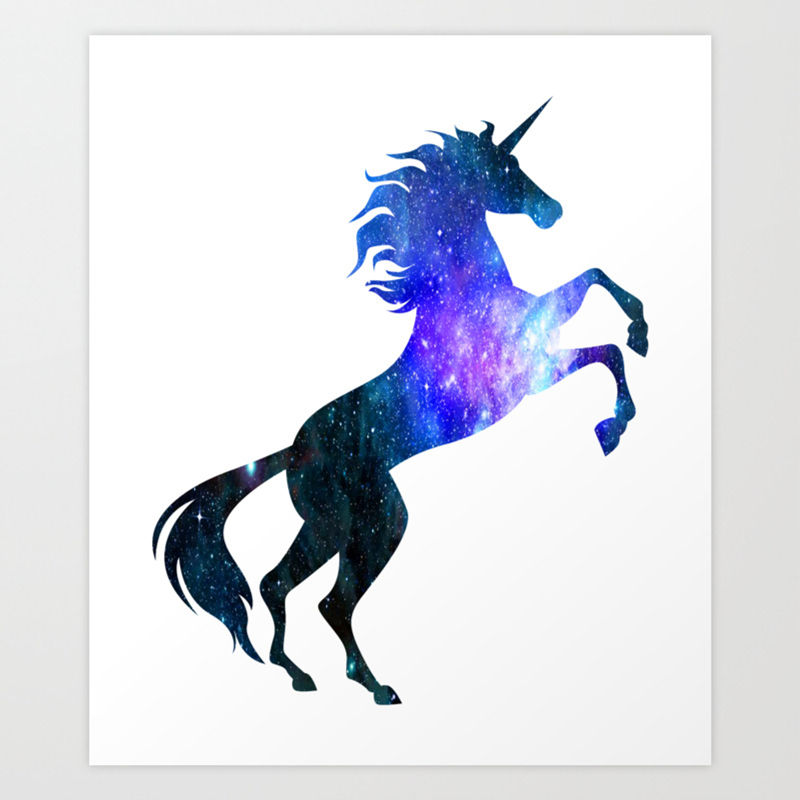 Unicorn Galaxy Symbol Universe Magical Unicorn Art Print By Teepsy