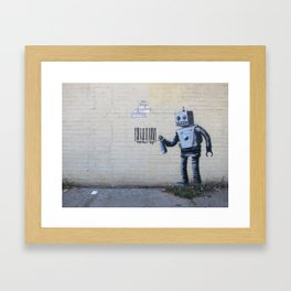 Banksy Robot (Coney Island, NYC) Framed Art Print