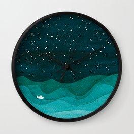 Starry Ocean, teal sailboat watercolor sea waves night Wall Clock