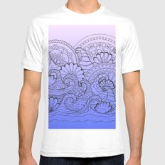 zen composition with mandalas waves White MEDIUM Mens Fitted Tee