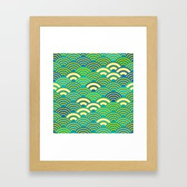 abstract scales simple Spring Nature background with japanese circle Framed Art Print