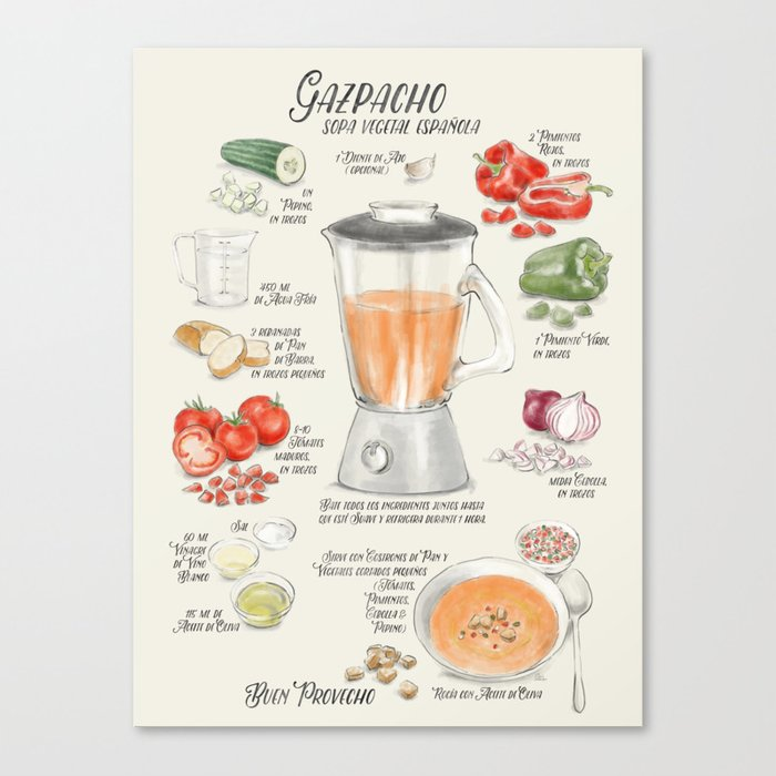 Gazpacho illustrated recipe in Spanish Canvas Print