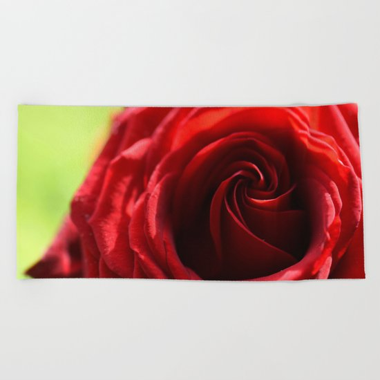 Red rose in LOVE - Roses- Valentine Beach Towel