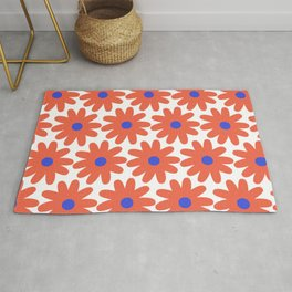 Crayon Flowers 2 Cheerful Smudgy Floral Pattern in Coral, Blue, and White Rug