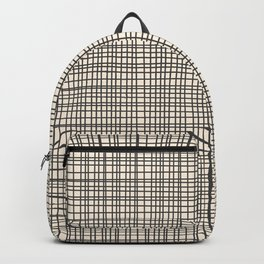 Fine Weave Mid-Century Modern Woven Pattern in Charcoal Gray and Almond Cream Backpack