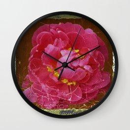 Vintage Grundy Pink Peony Antique Photo Wall Clock