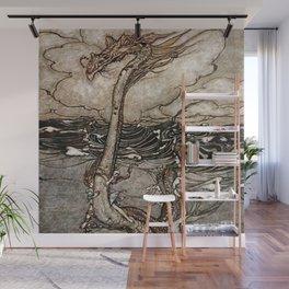 """""""Sea Serpent"""" by Arthur Rackham Wall Mural"""