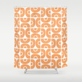 Groovy Mid Century Modern Pattern 731 Orange Shower Curtain
