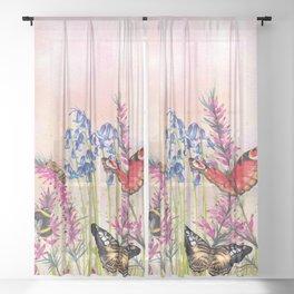 Wild meadow butterflies Sheer Curtain