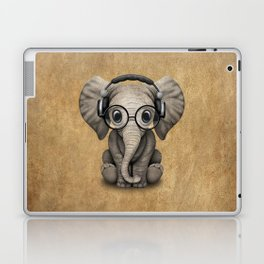 Cute Baby Elephant Dj Wearing Headphones and Glasses Laptop & iPad Skin