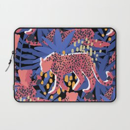 Vector graphic cheetah surrounded by exotic plants Laptop Sleeve