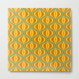 Retro Psychedelic Saucer Pattern in Orange, Yellow, Turquoise Metal Print