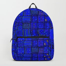 (N17) Calm Indigo Blue Boho Traditional Moroccan Artwork Backpack