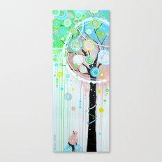 Hello Pink Kitty Tree Canvas Print