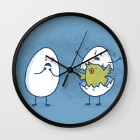 toddler Wall Clocks featuring EGGsplosion! by Monica Gifford