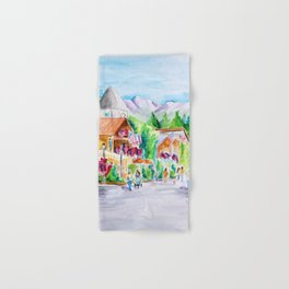 Vail Village Colorado Watercolor Hand & Bath Towel