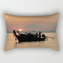 Long-tail boat at sunset in Thailand Rectangular Pillow