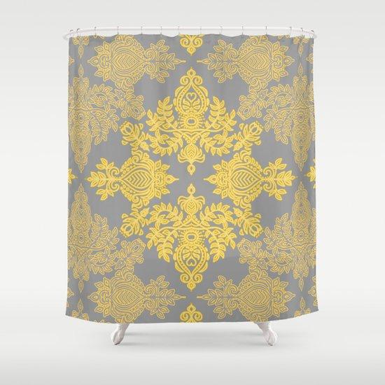 Golden Folk - doodle pattern in yellow & grey Shower Curtain
