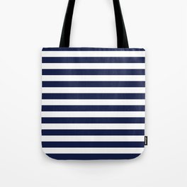 Navy Blue Nautical Stripe H Minimal Tote Bag