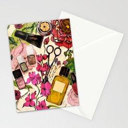 Nail polish and peonies Stationery Cards
