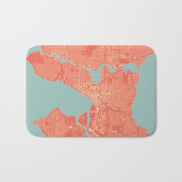 Seattle, Washington City Map, Colorful Bath Mat