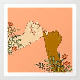 Pinky Promises Modern Floral Print Art Print