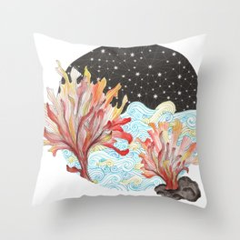 Starry Coral Throw Pillow