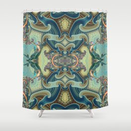 Dance of the mermaids, mixed-media art Shower Curtain