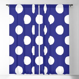 Geometric Candy Dot Circles - White on Navy Blue Blackout Curtain