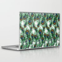 peacock feather Laptop & iPad Skins featuring Peacock Feather by Vicky Ink.