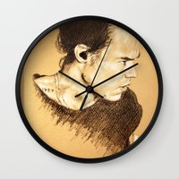 harry styles Wall Clocks featuring Harry Styles by Drawpassionn