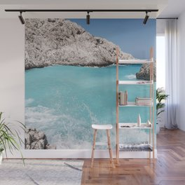 Fifty Shades of Blue Ocean Wave in Crete Island, Greece | Travel Photography | Landscape Photography Wall Mural